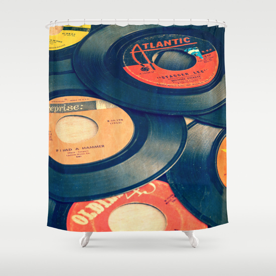 Old Record Shower Curtain