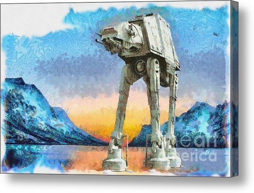 Star Wars AT-AT Sunrise on Hoth Canvas Printby Edward Fielding