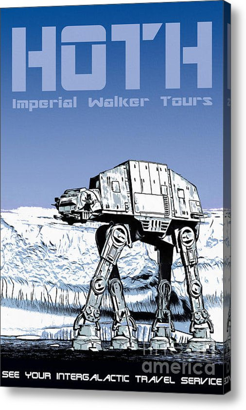 Vintage Hoth Star Wars Travel Poster Canvas Printby Edward Fielding