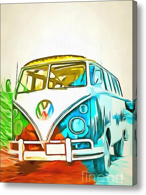 VW Bus Pop Art print on canvas