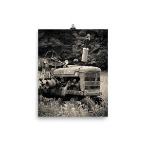 Vintage Tractor in Field Black & White Poster Print