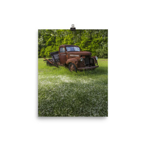 Old Truck Under the Apple Tree Poster Print