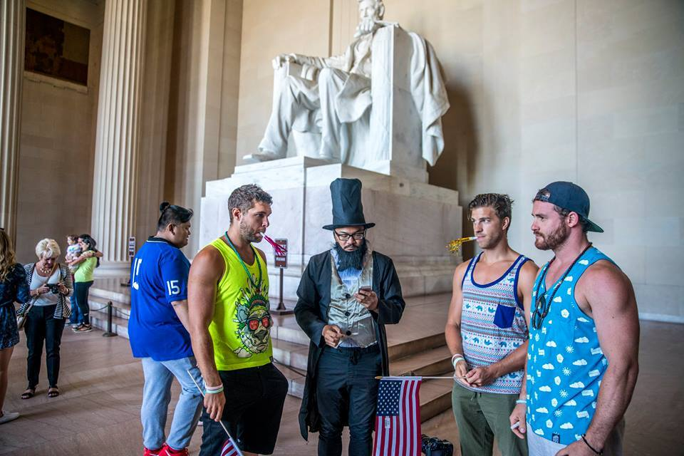 High On Life group causing a disturbance at the Lincoln Memorial.