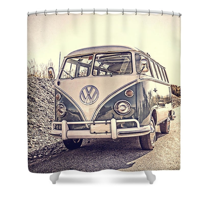 Surfer's Vintage Vw Samba Bus At The Beach