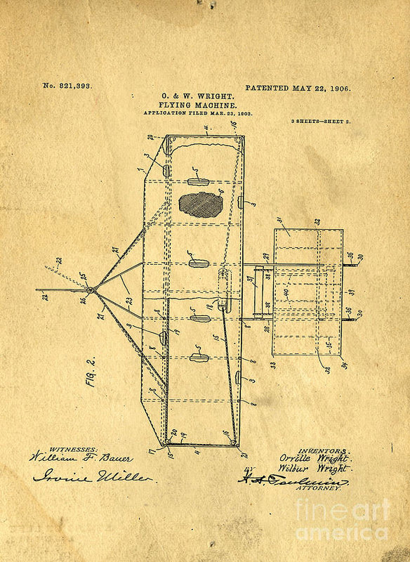Original Patent For Wright Flying Machine 1906