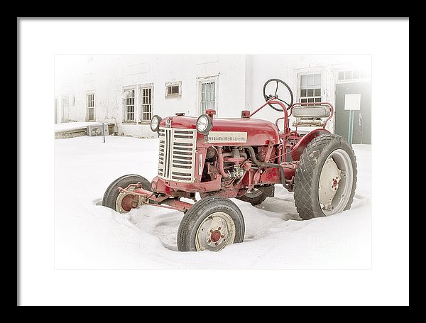 Old Red Tractor in the Snow