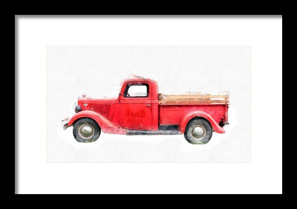 Old Red Farm Truck Framed