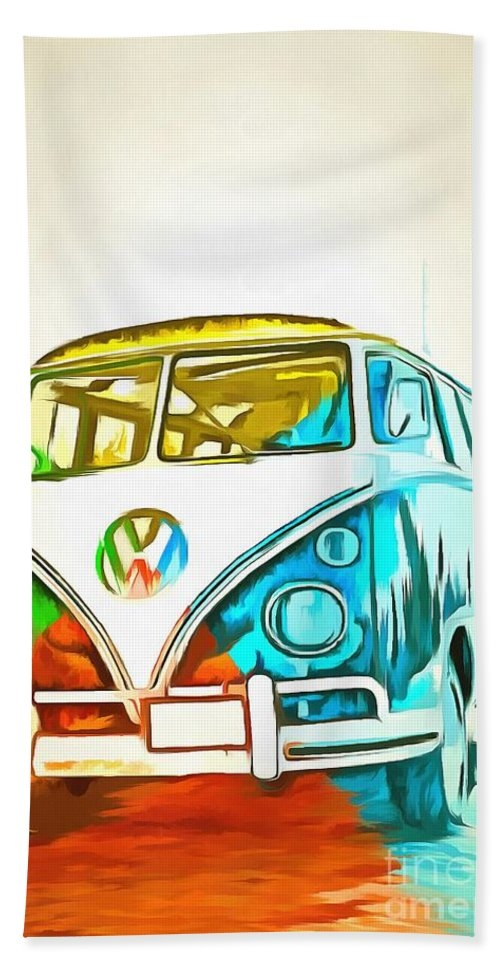 Old VW Bus Hand Towel