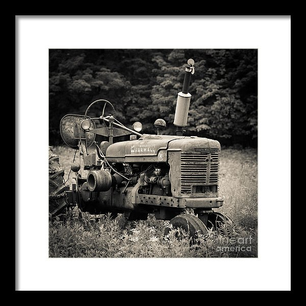 Old Tractor Black and White Square