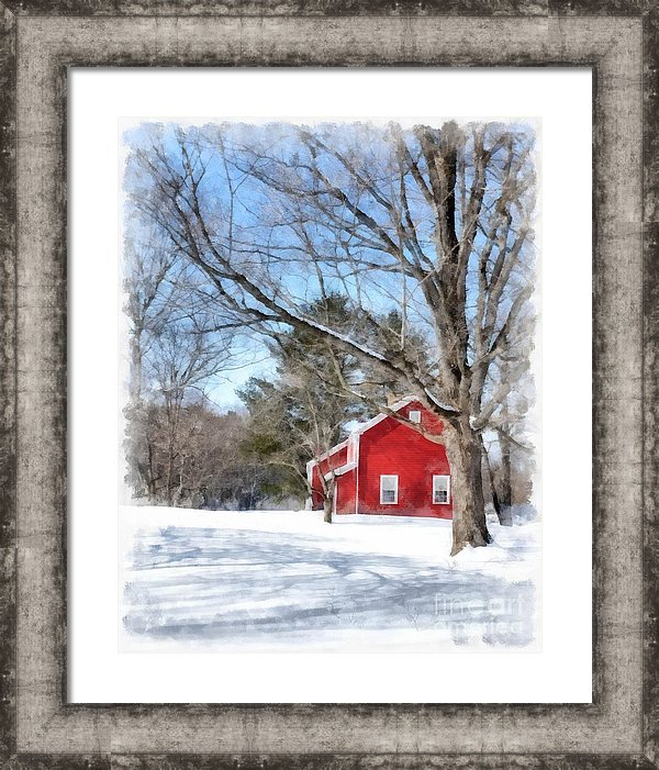 Winter in Vermont - watercolor artwork by Edward M. Fielding