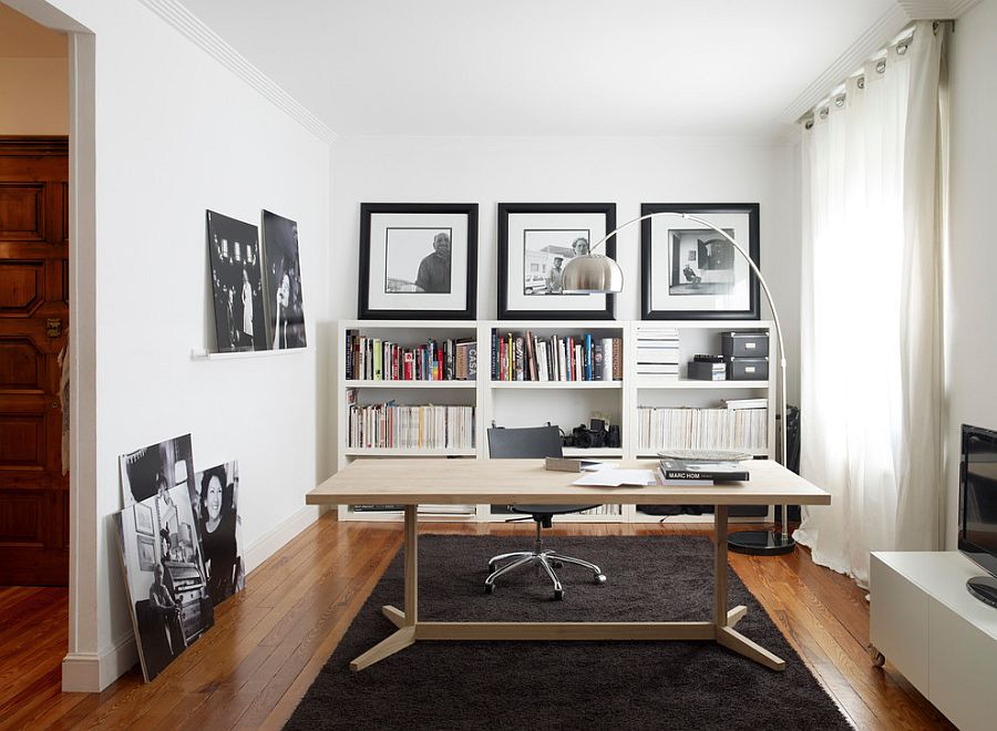 Contemporary home office in black and white