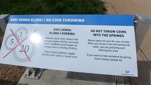 Do not throw coins in the geysers