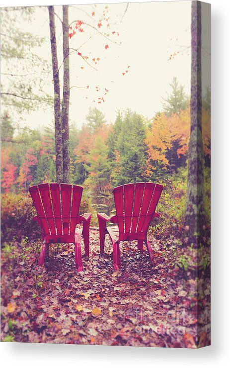 Red Chairs by the Pond by Edward M. Fielding