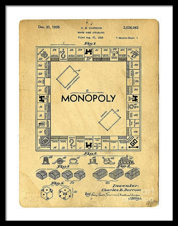 "a 22.500"" x 30.000"" print of Original Patent For Monopoly Board Game to a buyer from Roanoke, VA."