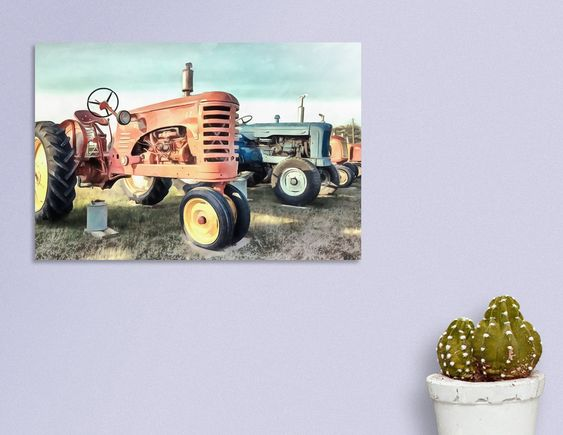 Limited Edition Acrylic Glass Print of Row of Vintage Tractors Prince Edward Island