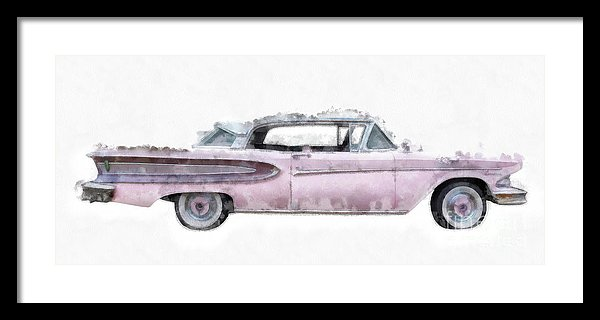 Pink Ford Edsel Watercolor